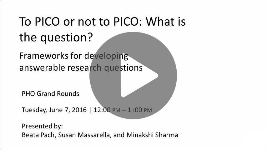 To Pico or Not to Pico: What is the question?s